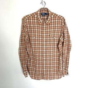 🔥Polo Ralph Lauren PEARL SNAP Western M plaid tan